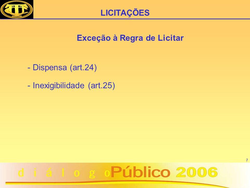 7 Exceção à Regra de Licitar - Dispensa (art.24) - Inexigibilidade (art.25) LICITAÇÕES