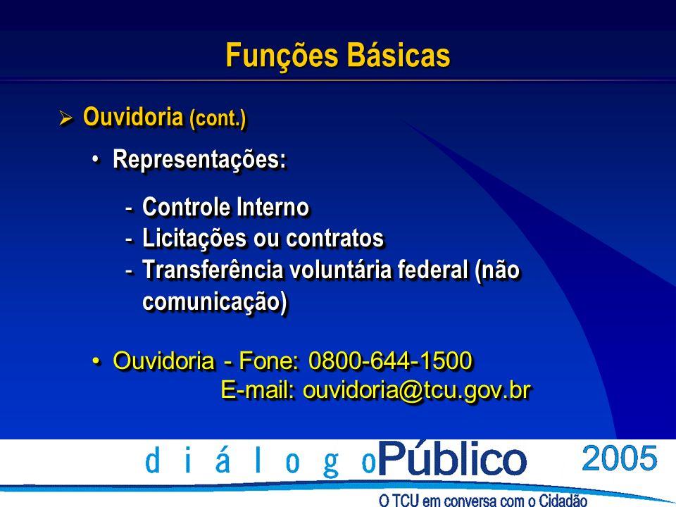 Funções Básicas Ouvidoria (cont.) Ouvidoria (cont.) Representações: Representações: - Controle Interno - Licitações ou contratos - Transferência voluntária federal (não comunicação) Ouvidoria - Fone: 0800-644-1500Ouvidoria - Fone: 0800-644-1500 E-mail: ouvidoria@tcu.gov.br E-mail: ouvidoria@tcu.gov.br Ouvidoria (cont.) Ouvidoria (cont.) Representações: Representações: - Controle Interno - Licitações ou contratos - Transferência voluntária federal (não comunicação) Ouvidoria - Fone: 0800-644-1500Ouvidoria - Fone: 0800-644-1500 E-mail: ouvidoria@tcu.gov.br E-mail: ouvidoria@tcu.gov.br