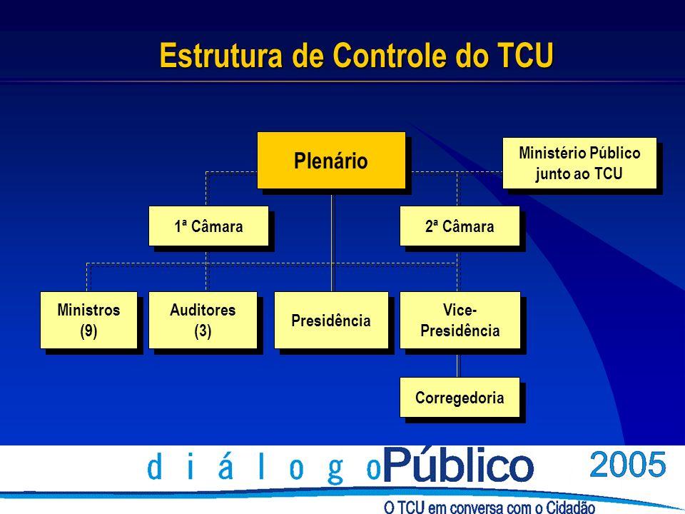 Estrutura de Controle do TCU 1ª Câmara Corregedoria 2ª Câmara Ministério Público junto ao TCU Ministério Público junto ao TCU Presidência Vice- Presidência Vice- Presidência Ministros (9) Ministros (9) Auditores (3) Auditores (3) Plenário