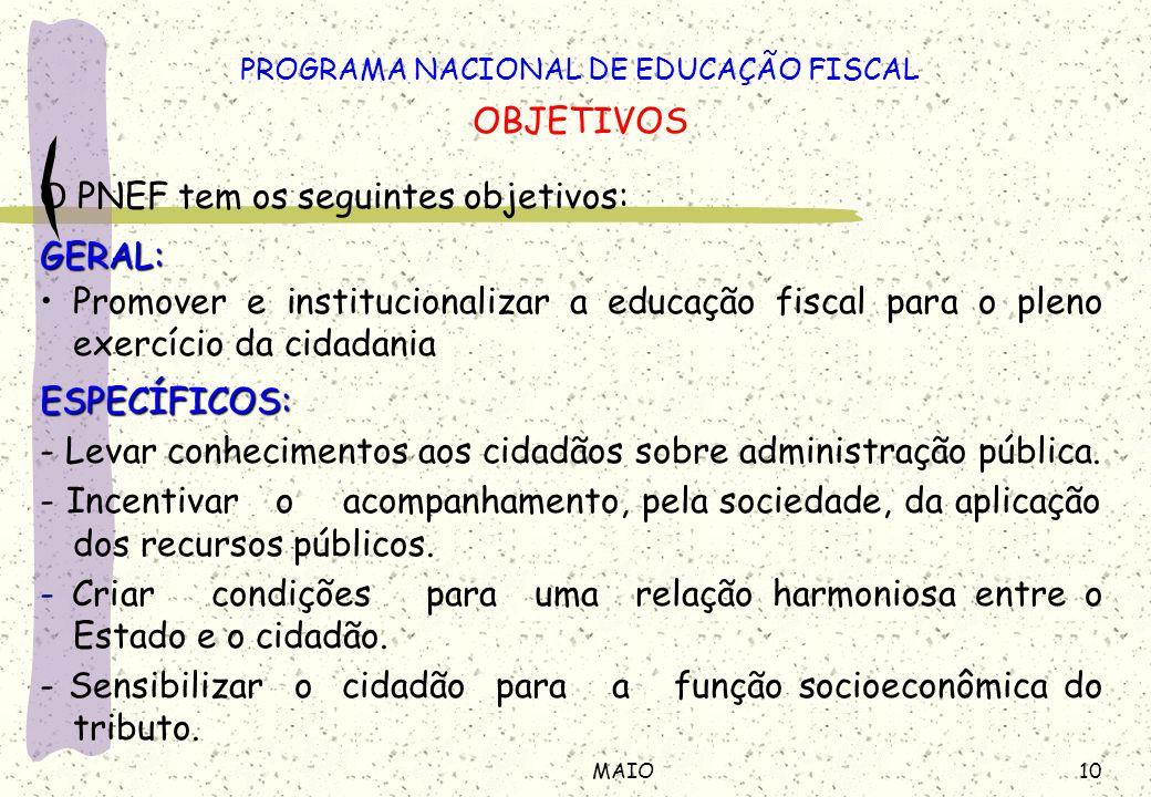10MAIO O PNEF tem os seguintes objetivos:GERAL: Promover e institucionalizar a educação fiscal para o pleno exercício da cidadaniaESPECÍFICOS: - Levar conhecimentos aos cidadãos sobre administração pública.