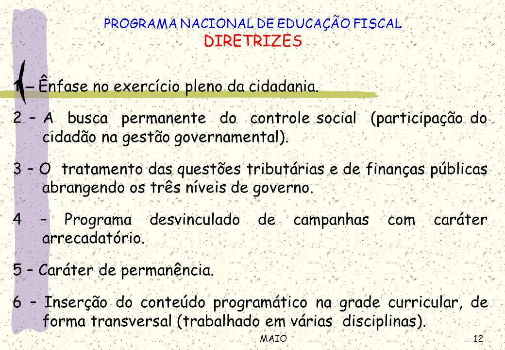 12MAIO 1 – Ênfase no exercício pleno da cidadania. 2 – A busca permanente do controle social (participação do cidadão na gestão governamental). 3 – O