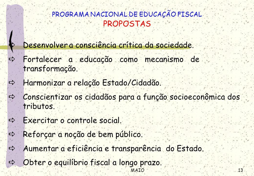 13MAIO Desenvolver a consciência crítica da sociedade. Fortalecer a educação como mecanismo de transformação. Harmonizar a relação Estado/Cidadão. Con