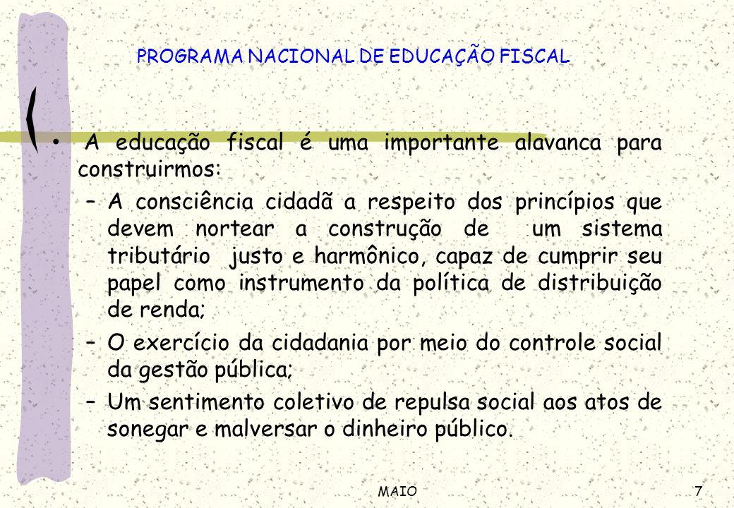 7MAIO A educação fiscal é uma importante alavanca para construirmos: –A consciência cidadã a respeito dos princípios que devem nortear a construção de