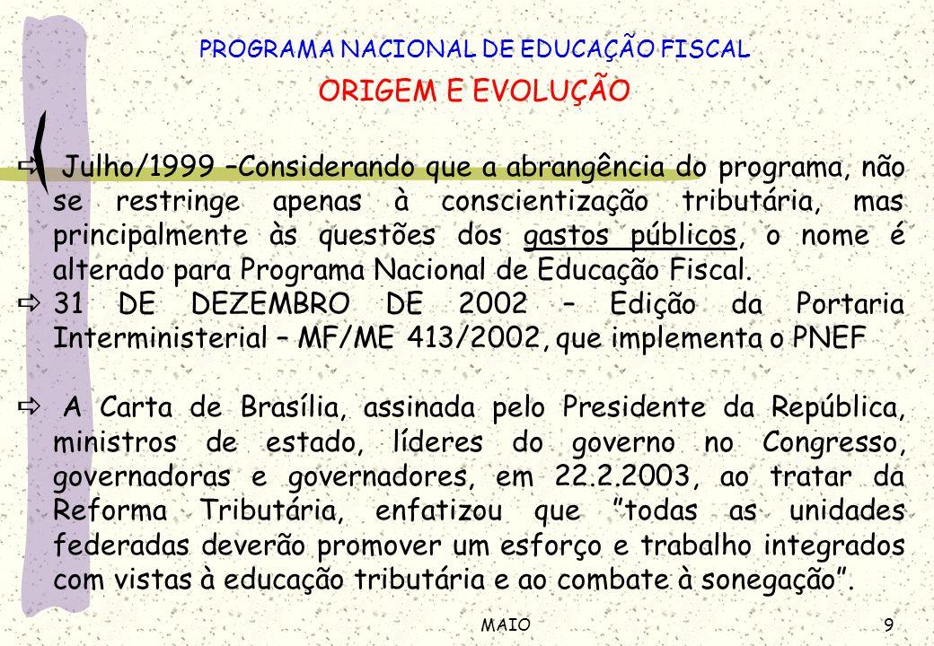 9MAIO PROGRAMA NACIONAL DE EDUCAÇÃO FISCAL ORIGEM E EVOLUÇÃO Julho/1999 –Considerando que a abrangência do programa, não se restringe apenas à conscie