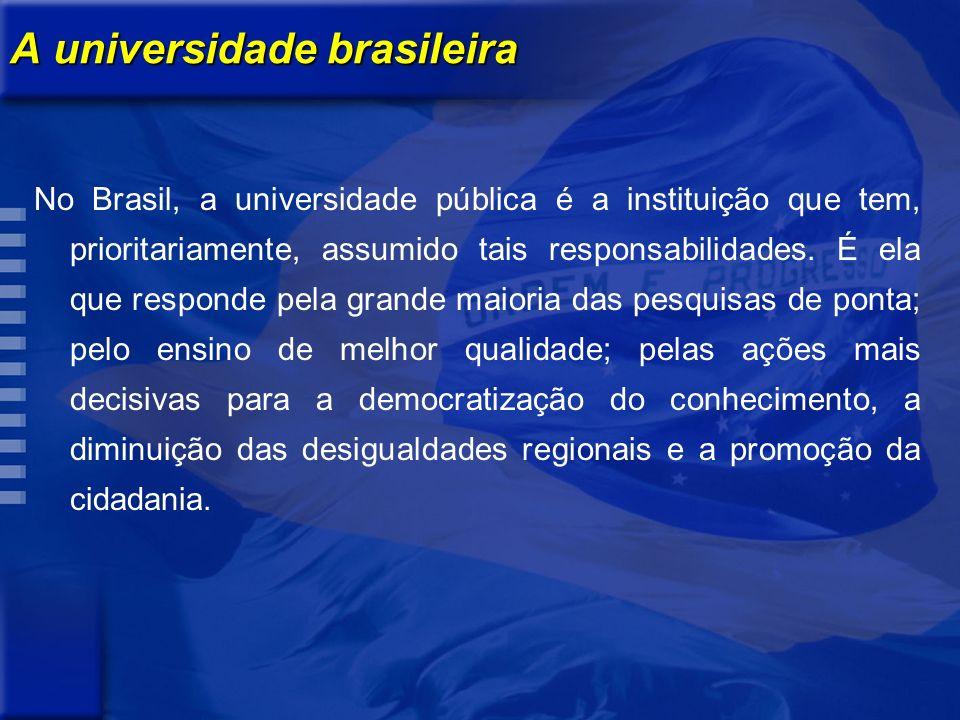 A universidade brasileira No Brasil, a universidade pública é a instituição que tem, prioritariamente, assumido tais responsabilidades. É ela que resp