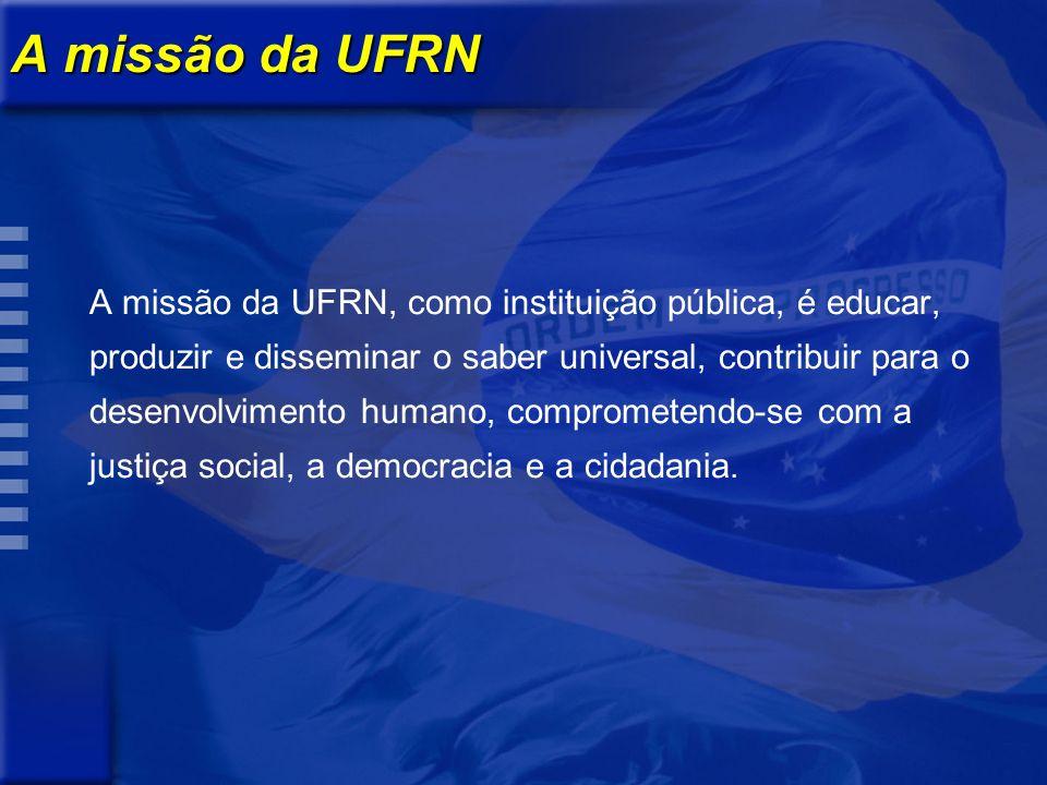 A missão da UFRN A missão da UFRN, como instituição pública, é educar, produzir e disseminar o saber universal, contribuir para o desenvolvimento humano, comprometendo-se com a justiça social, a democracia e a cidadania.