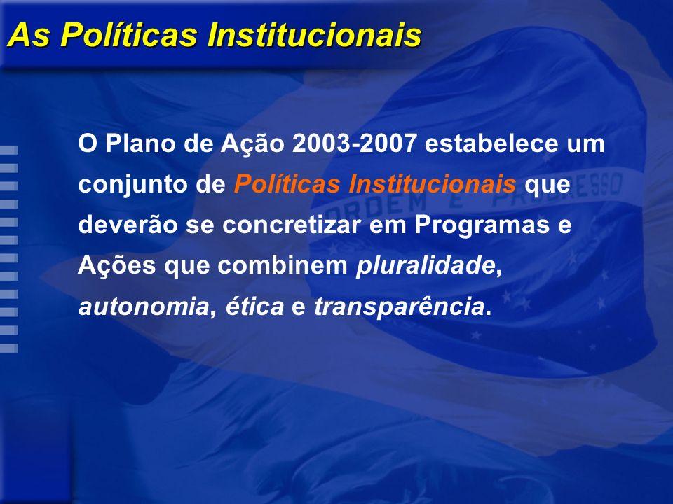 As Políticas Institucionais O Plano de Ação 2003-2007 estabelece um conjunto de Políticas Institucionais que deverão se concretizar em Programas e Ações que combinem pluralidade, autonomia, ética e transparência.