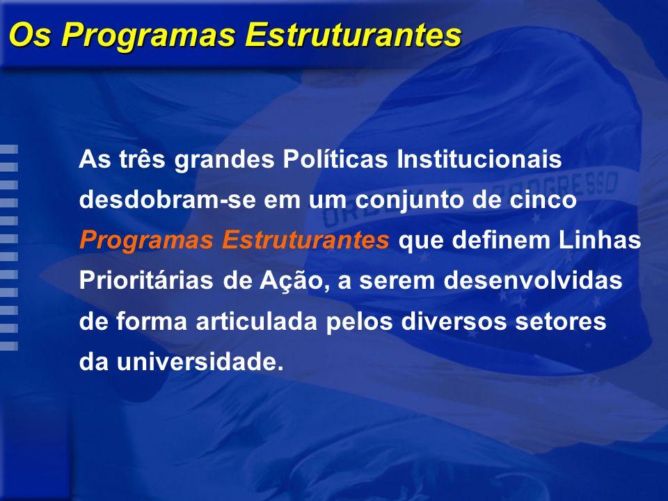 Os Programas Estruturantes As três grandes Políticas Institucionais desdobram-se em um conjunto de cinco Programas Estruturantes que definem Linhas Prioritárias de Ação, a serem desenvolvidas de forma articulada pelos diversos setores da universidade.