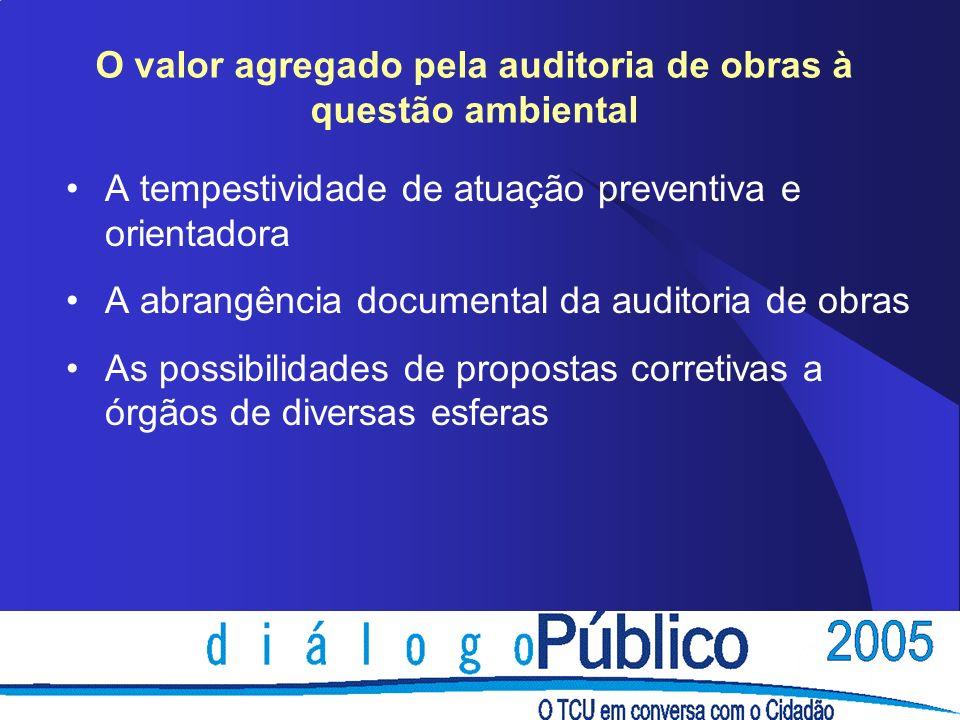O valor agregado pela auditoria de obras à questão ambiental A tempestividade de atuação preventiva e orientadora A abrangência documental da auditori