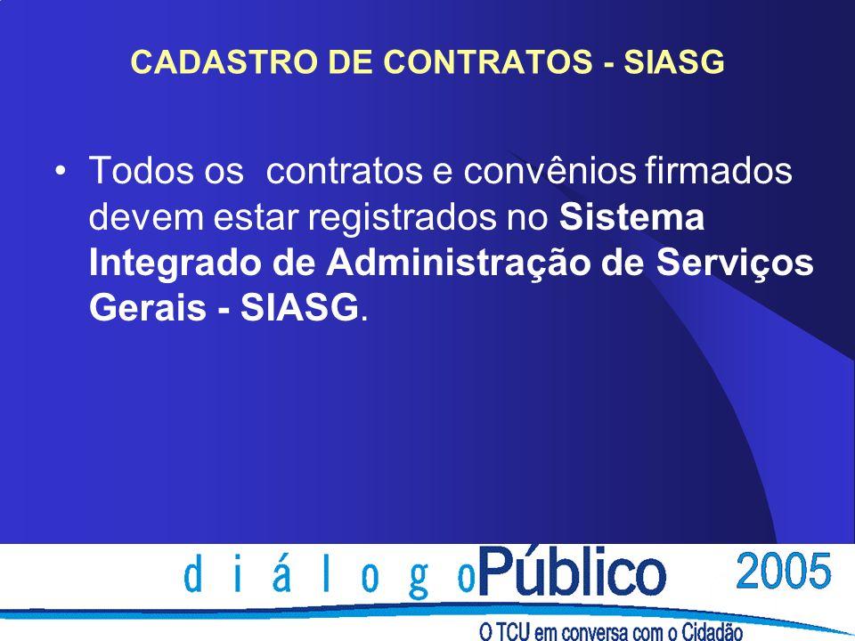 CADASTRO DE CONTRATOS - SIASG Todos os contratos e convênios firmados devem estar registrados no Sistema Integrado de Administração de Serviços Gerais