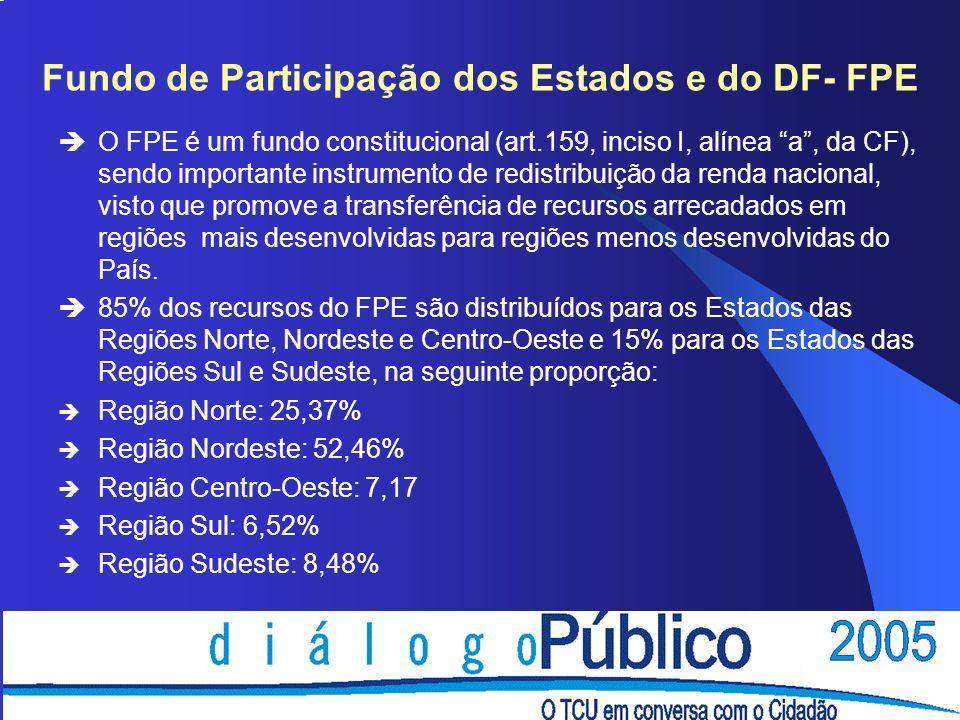 Fundo de Participação dos Estados e do DF- FPE èO FPE é um fundo constitucional (art.159, inciso I, alínea a, da CF), sendo importante instrumento de redistribuição da renda nacional, visto que promove a transferência de recursos arrecadados em regiões mais desenvolvidas para regiões menos desenvolvidas do País.
