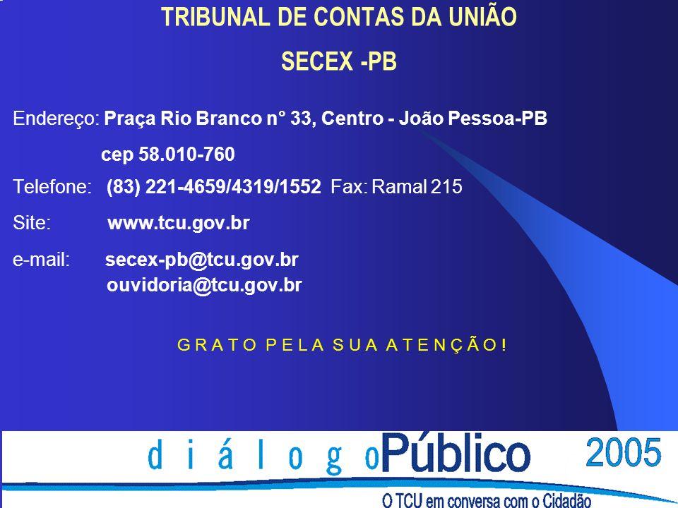 TRIBUNAL DE CONTAS DA UNIÃO SECEX -PB Endereço: Praça Rio Branco n° 33, Centro - João Pessoa-PB cep 58.010-760 Telefone: (83) 221-4659/4319/1552 Fax: Ramal 215 Site: www.tcu.gov.br e-mail: secex-pb@tcu.gov.br ouvidoria@tcu.gov.br G R A T O P E L A S U A A T E N Ç Ã O !