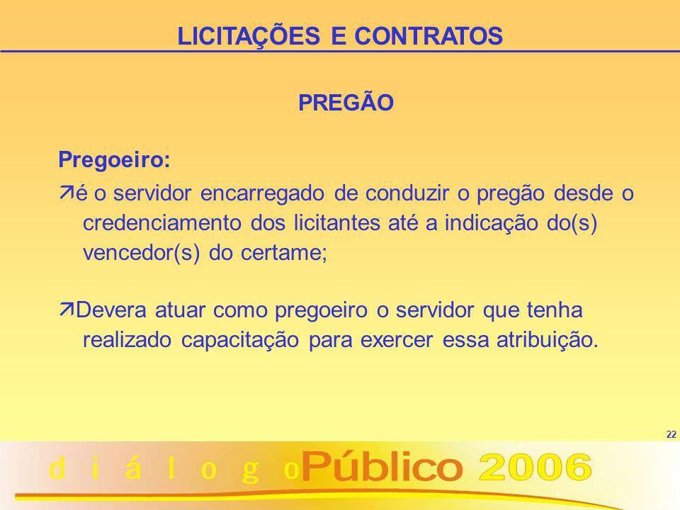 22 LICITAÇÕES E CONTRATOS Pregoeiro: ä é o servidor encarregado de conduzir o pregão desde o credenciamento dos licitantes até a indicação do(s) vence