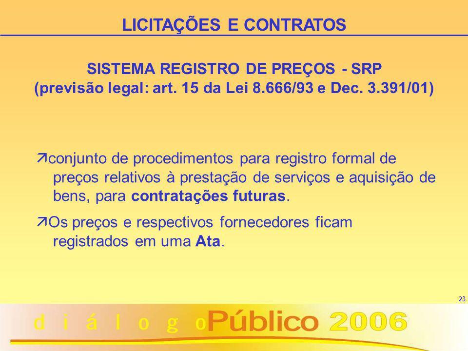 23 LICITAÇÕES E CONTRATOS SISTEMA REGISTRO DE PREÇOS - SRP (previsão legal: art. 15 da Lei 8.666/93 e Dec. 3.391/01) ä conjunto de procedimentos para