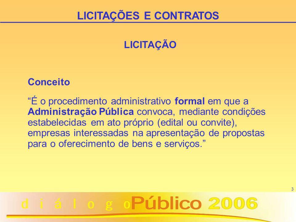 3 LICITAÇÃO Conceito É o procedimento administrativo formal em que a Administração Pública convoca, mediante condições estabelecidas em ato próprio (e