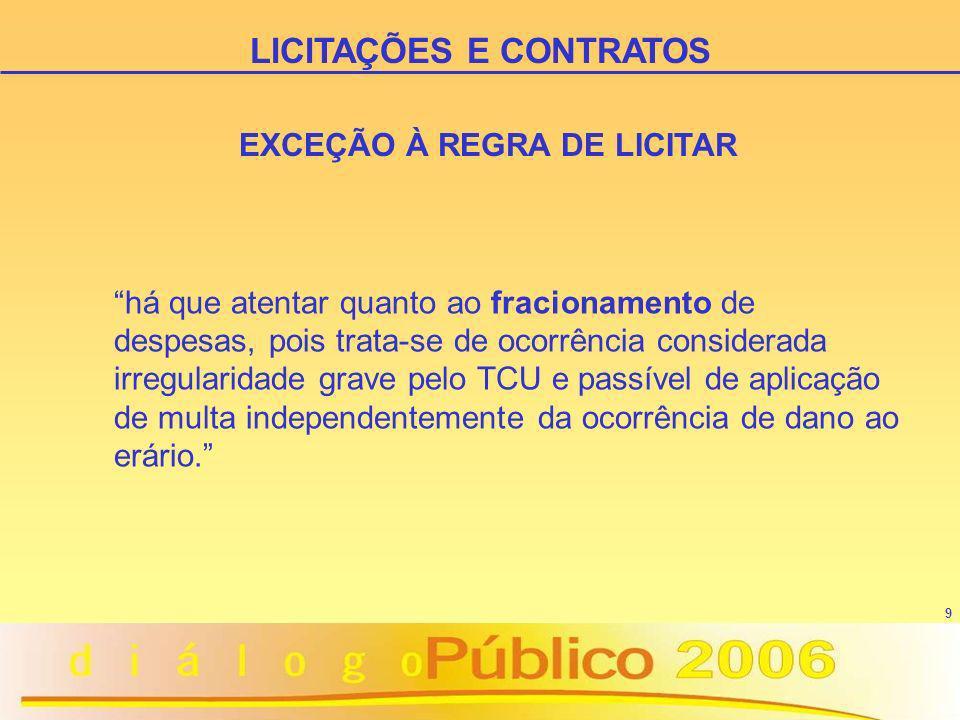 9 EXCEÇÃO À REGRA DE LICITAR há que atentar quanto ao fracionamento de despesas, pois trata-se de ocorrência considerada irregularidade grave pelo TCU