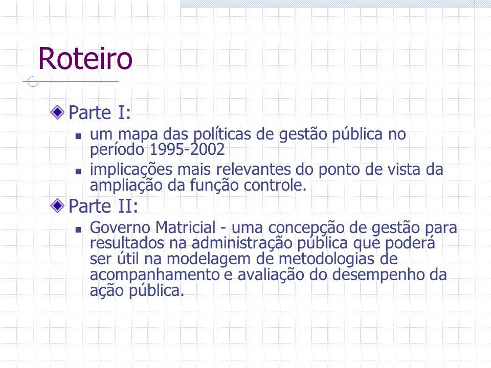 Roteiro Parte I: um mapa das políticas de gestão pública no período 1995-2002 implicações mais relevantes do ponto de vista da ampliação da função controle.