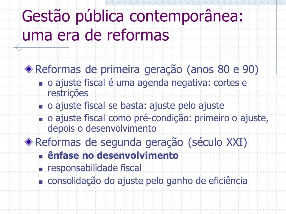 Gestão pública contemporânea: uma era de reformas Reformas de primeira geração (anos 80 e 90) o ajuste fiscal é uma agenda negativa: cortes e restriçõ