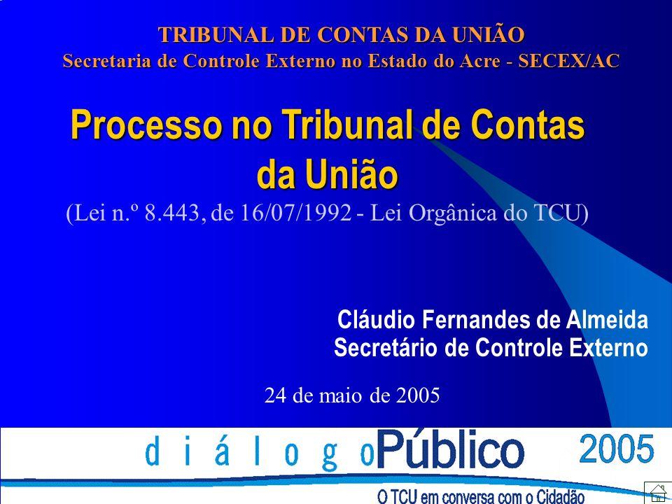 Processo no Tribunal de Contas da União (Lei n.º 8.443, de 16/07/1992 - Lei Orgânica do TCU) Cláudio Fernandes de Almeida Secretário de Controle Externo 24 de maio de 2005 TRIBUNAL DE CONTAS DA UNIÃO Secretaria de Controle Externo no Estado do Acre - SECEX/AC