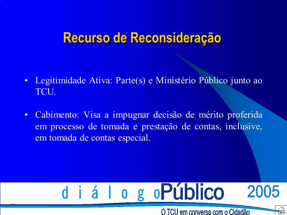 Recurso de Reconsideração Legitimidade Ativa: Parte(s) e Ministério Público junto ao TCU.