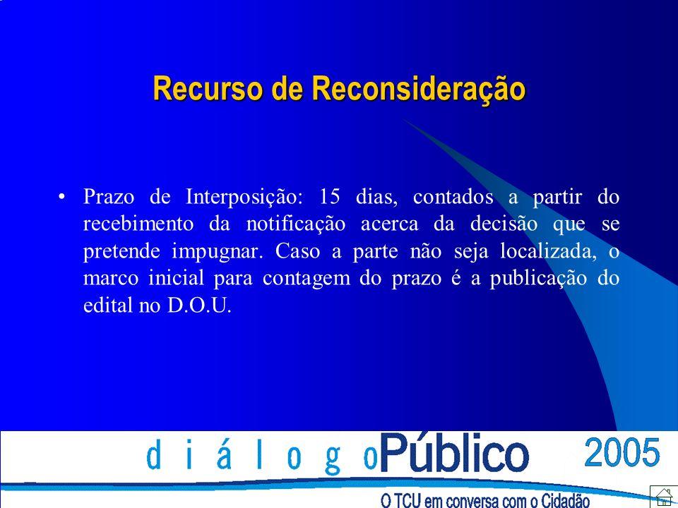 Recurso de Reconsideração Prazo de Interposição: 15 dias, contados a partir do recebimento da notificação acerca da decisão que se pretende impugnar.