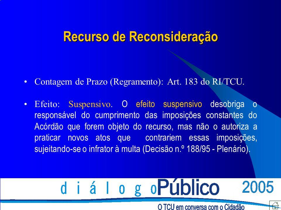Recurso de Reconsideração Contagem de Prazo (Regramento): Art.