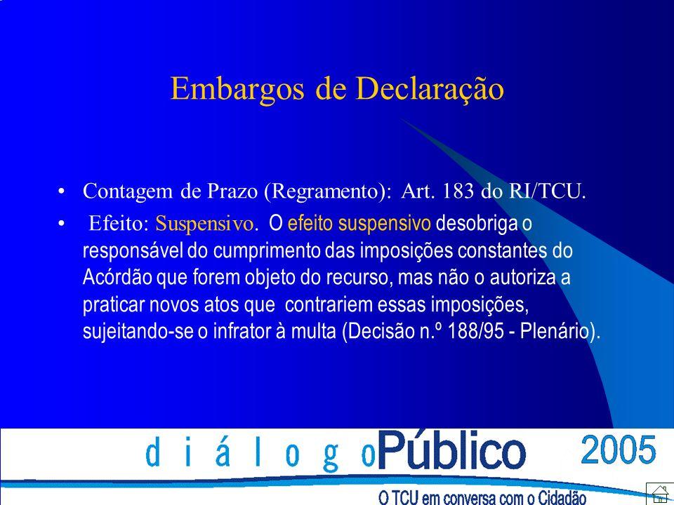 Embargos de Declaração Contagem de Prazo (Regramento): Art.