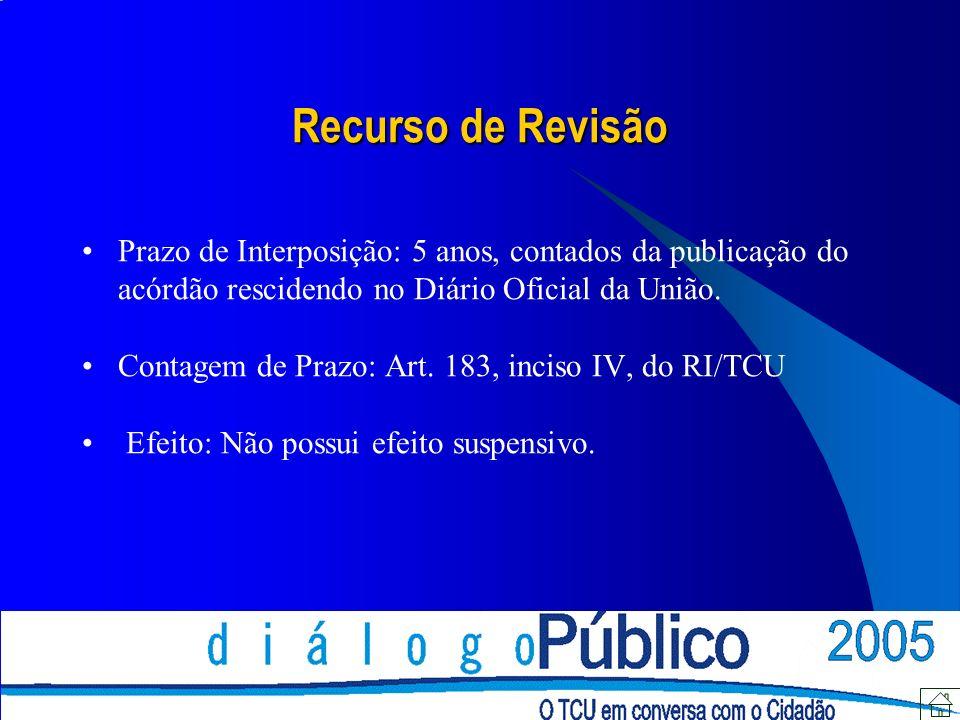 Recurso de Revisão Prazo de Interposição: 5 anos, contados da publicação do acórdão rescidendo no Diário Oficial da União.