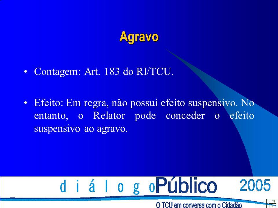 Agravo Contagem: Art. 183 do RI/TCU. Efeito: Em regra, não possui efeito suspensivo.