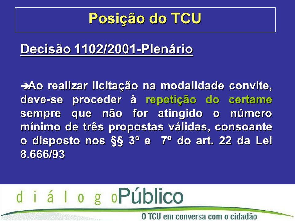 Posição do TCU Decisão 1102/2001-Plenário è Ao realizar licitação na modalidade convite, deve-se proceder à repetição do certame sempre que não for atingido o número mínimo de três propostas válidas, consoante o disposto nos §§ 3º e 7º do art.