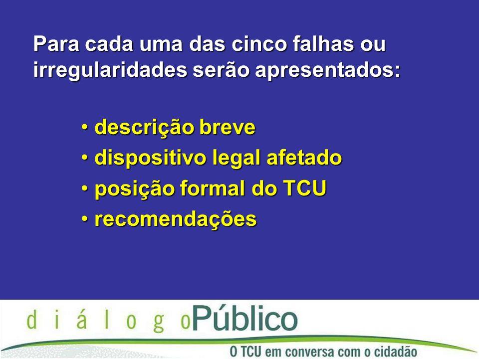 Para cada uma das cinco falhas ou irregularidades serão apresentados: descrição breve descrição breve dispositivo legal afetado dispositivo legal afetado posição formal do TCU posição formal do TCU recomendações recomendações