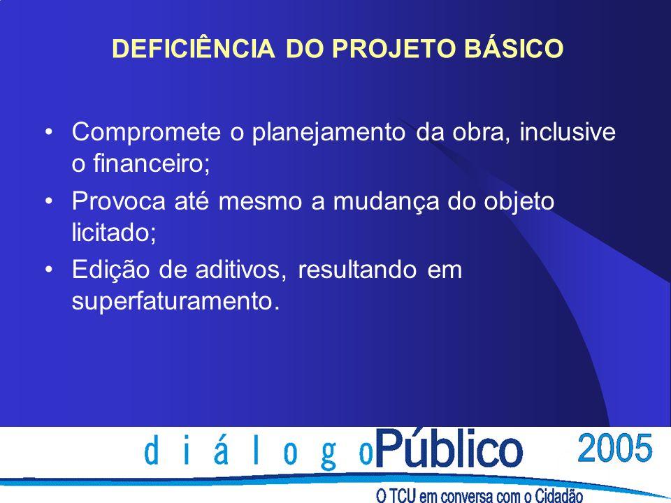 DEFICIÊNCIA DO PROJETO BÁSICO Compromete o planejamento da obra, inclusive o financeiro; Provoca até mesmo a mudança do objeto licitado; Edição de aditivos, resultando em superfaturamento.