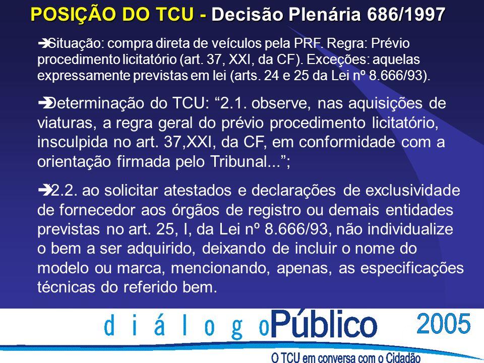 POSIÇÃO DO TCU - Decisão Plenária 686/1997 è Situação: compra direta de veículos pela PRF.