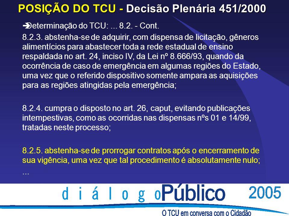 POSIÇÃO DO TCU - Decisão Plenária 451/2000 èDeterminação do TCU:...