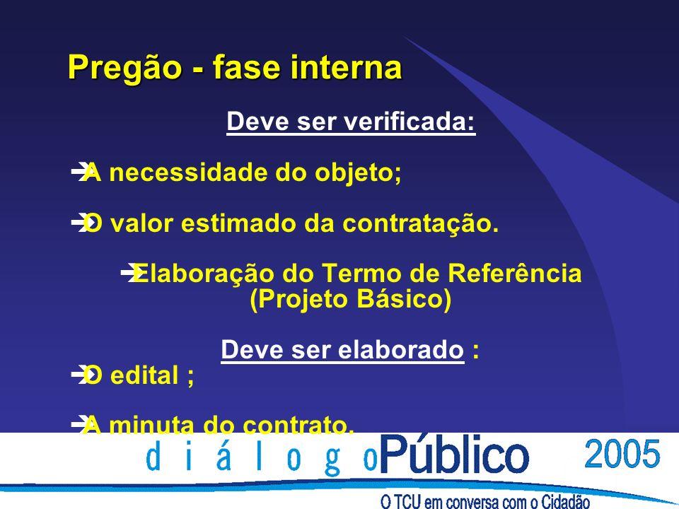 Pregão - fase interna Pregão - fase interna Deve ser verificada: èA necessidade do objeto; èO valor estimado da contratação.