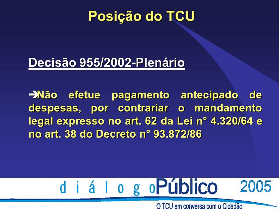 Posição do TCU Decisão 955/2002-Plenário è Não efetue pagamento antecipado de despesas, por contrariar o mandamento legal expresso no art. 62 da Lei n