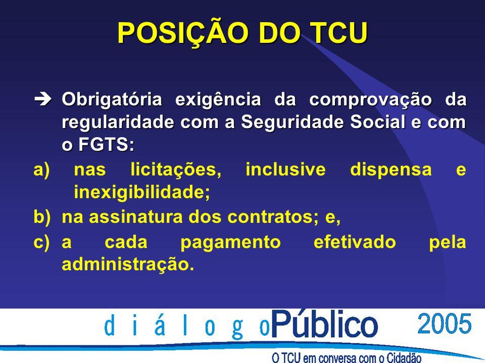 POSIÇÃO DO TCU èObrigatória exigência da comprovação da regularidade com a Seguridade Social e com o FGTS: a) nas licitações, inclusive dispensa e ine