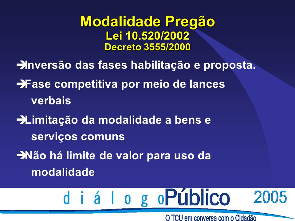 Modalidade Pregão Lei 10.520/2002 Decreto 3555/2000 è Inversão das fases habilitação e proposta. è Fase competitiva por meio de lances verbais è Limit
