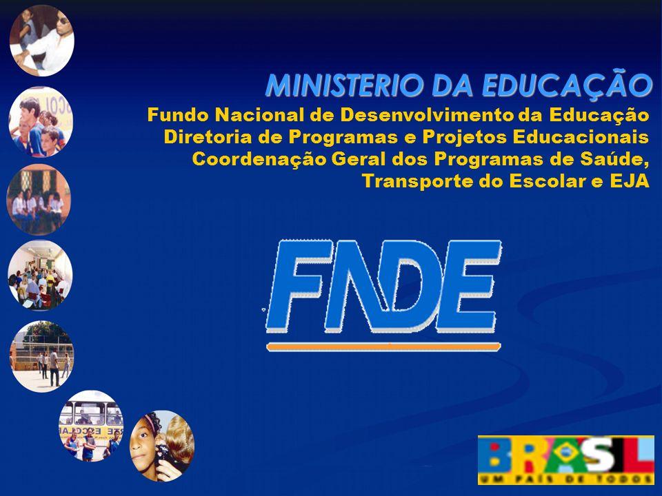 Fundo Nacional de Desenvolvimento da Educação Diretoria de Programas e Projetos Educacionais Coordenação Geral dos Programas de Saúde, Transporte do Escolar e EJA MINISTERIO DA EDUCAÇÃO