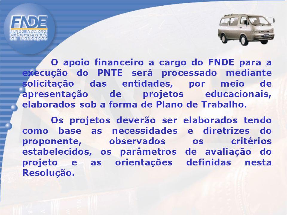 O apoio financeiro a cargo do FNDE para a execução do PNTE será processado mediante solicitação das entidades, por meio de apresentação de projetos educacionais, elaborados sob a forma de Plano de Trabalho.