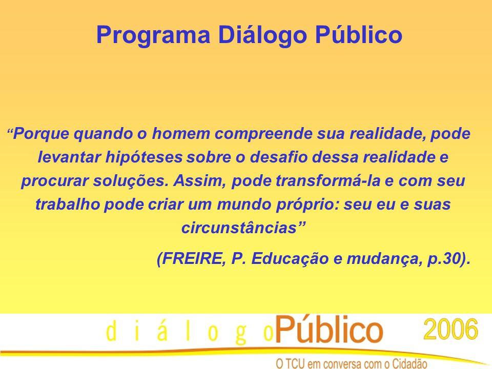 Programa Diálogo Público Porque quando o homem compreende sua realidade, pode levantar hipóteses sobre o desafio dessa realidade e procurar soluções.
