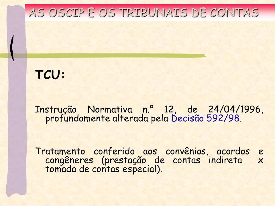 AS OSCIP E OS TRIBUNAIS DE CONTAS TCU: Instrução Normativa n.° 12, de 24/04/1996, profundamente alterada pela Decisão 592/98.