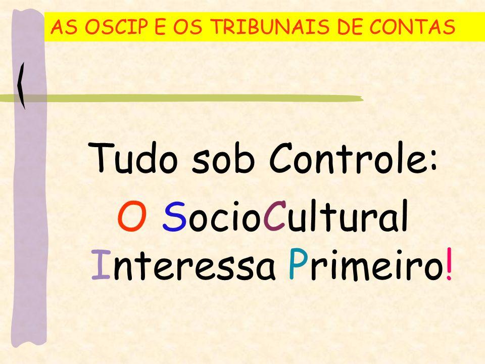 AS OSCIP E OS TRIBUNAIS DE CONTAS Tudo sob Controle: O SocioCultural Interessa Primeiro!