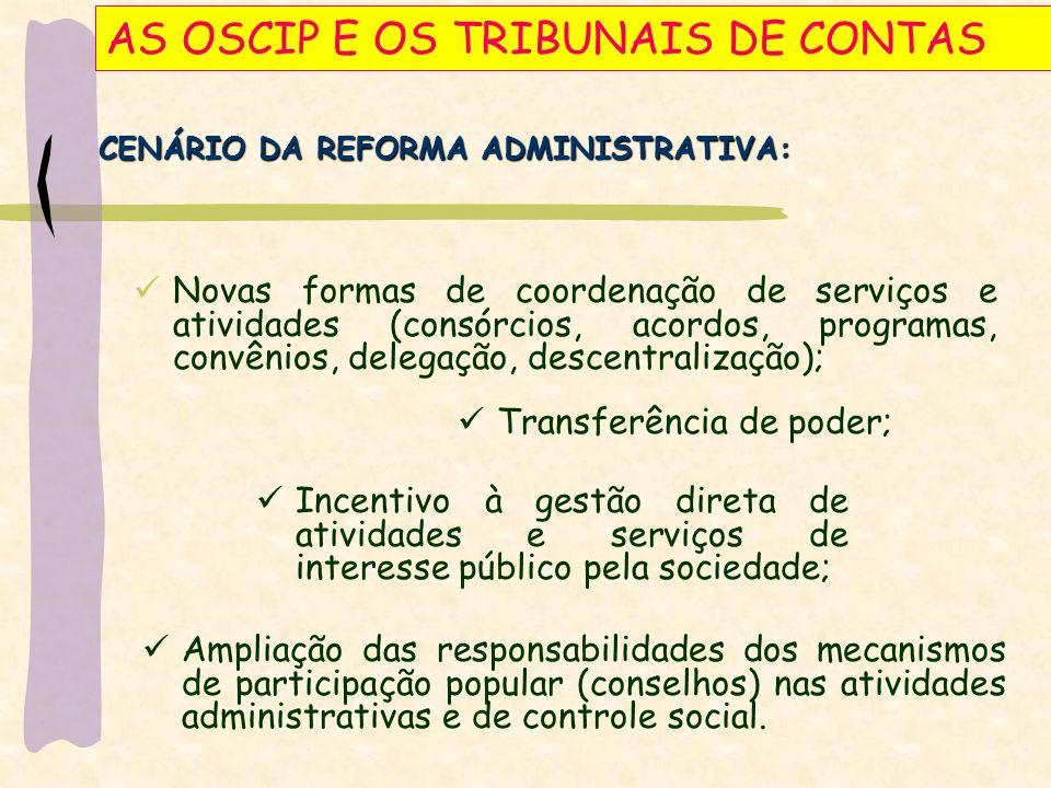 AS OSCIP E OS TRIBUNAIS DE CONTAS Art.37, § 8.° da CR/88 Art.