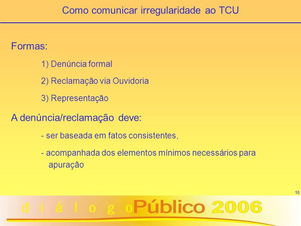 10 Como comunicar irregularidade ao TCU Formas: 1) Denúncia formal 2) Reclamação via Ouvidoria 3) Representação A denúncia/reclamação deve: - ser base