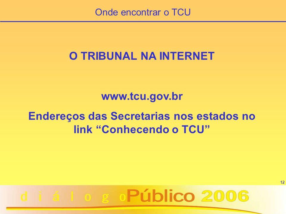 12 O TRIBUNAL NA INTERNET www.tcu.gov.br Endereços das Secretarias nos estados no link Conhecendo o TCU Onde encontrar o TCU