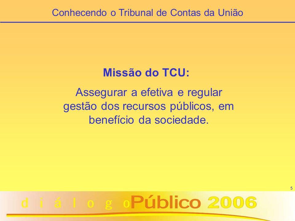 5 Missão do TCU: Assegurar a efetiva e regular gestão dos recursos públicos, em benefício da sociedade. Conhecendo o Tribunal de Contas da União