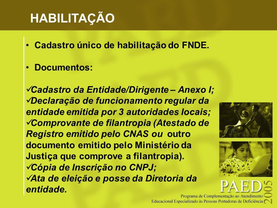 HABILITAÇÃO Cadastro único de habilitação do FNDE. Documentos: Cadastro da Entidade/Dirigente – Anexo I; Declaração de funcionamento regular da entida