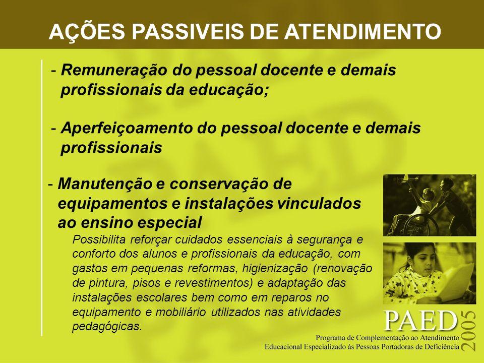 AÇÕES PASSIVEIS DE ATENDIMENTO -Manutenção e conservação de equipamentos e instalações vinculados ao ensino especial Possibilita reforçar cuidados ess