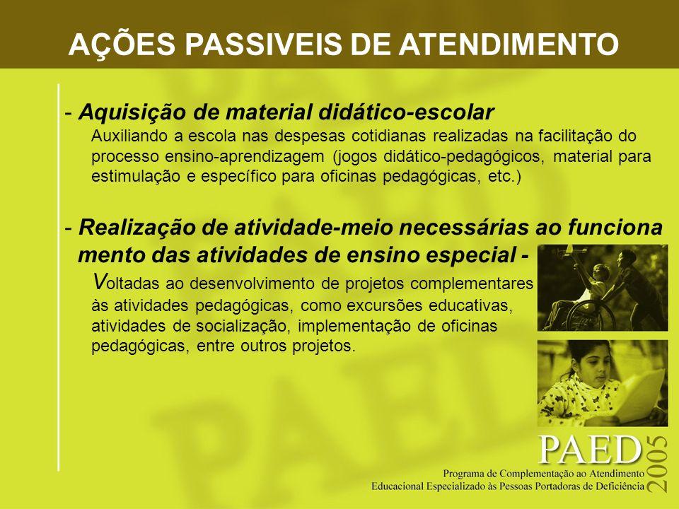 AÇÕES PASSIVEIS DE ATENDIMENTO -Aquisição de material didático-escolar Auxiliando a escola nas despesas cotidianas realizadas na facilitação do proces